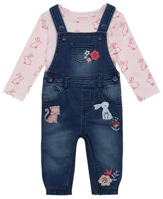 Bluezoo BLUE ZOO Baby Girls' Blue Denim Dungarees And Pink Bunny Top Set
