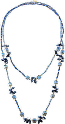 Greenbeads Long Midnight Blue Beaded Necklace ynzIo0h5d