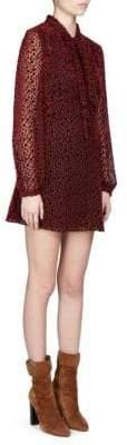 Saint Laurent Velvet Spot Tie Neck Dress
