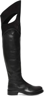 Ann Demeulemeester 30mm Leather & Suede Boots