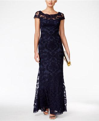 Tadashi Shoji Illusion-Lace Cap-Sleeve Gown $468 thestylecure.com