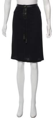 Versus Leather Accent Midi Skirt