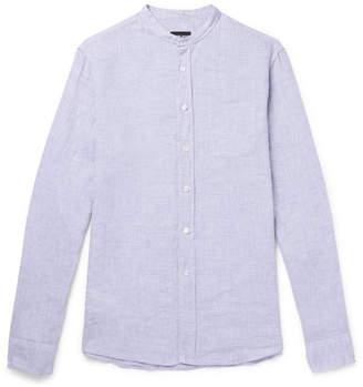 Giorgio Armani Grandad-Collar Linen-Chambray Shirt
