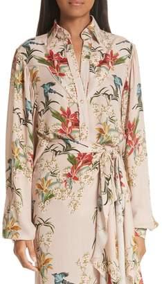 Johanna Ortiz Azalea Puff Sleeve Silk Blouse