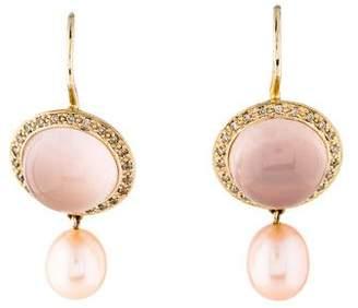 Mimí Milano 18K Rose Quartz & Pearl Drop Earrings