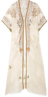 Miguelina Genesis Embroidered Silk-satin Kaftan - Cream