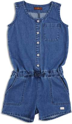7 For All Mankind Girls' Denim Button-Up Romper