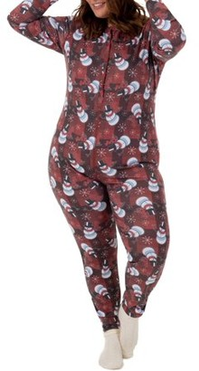 Fruit of the Loom Fit for Me by Women's and Women's Plus Size Christmas Thermal Union Suit
