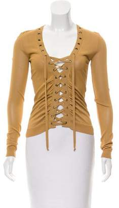 Valentino Lacing-Accented Long Sleeve Sweater