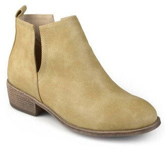 Co Brinley Womens Side Slit Faux Leather Stacked Heel Booties
