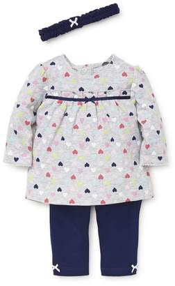 Little Me Fun Hearts Tunic, Leggings & Headband Set