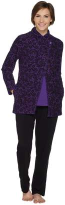 Carole Hochman Floral Lace Waffle Fleece 3-Piece Pajama Set