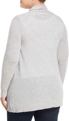 Neiman Marcus Cashmere Open-Front Computer Cardigan, Plus Size, Gray