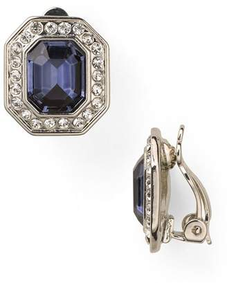 Carolee Royal Blue Crystal Button Clip-On Earrings