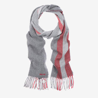 Bally Solid Stripe Wool Mix Scarf Grey, Men's wool scarf in grey