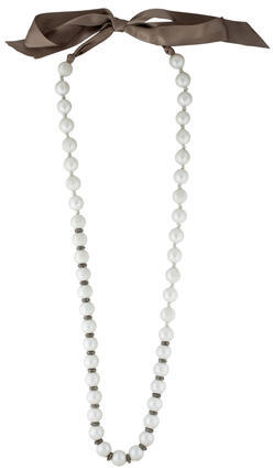 LanvinLanvin Tulle Wrapped Pearl Bead Strand Necklace
