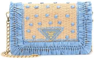 Prada Leather and raffia shoulder bag