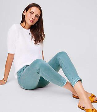 LOFT Modern Unpicked Skinny Crop Jeans in Mineral Blue
