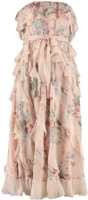 Zimmermann Bowie Waterfall Silk Midi Dress In Floral Print