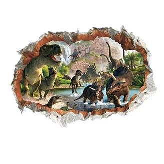 Mural MLM 3D Dinosaurs Simulation Crack Hole Stickers Self-adhesive Peel and Stick Wall Decal Living Room Bedroom Kids' Room Nursery Decor Playroom Decor