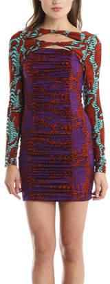 Kelly Wearstler Pounce Crouching Tiger Print Jersey Dress