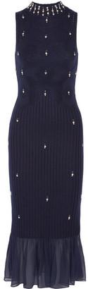 Jonathan Simkhai - Silk Chiffon-trimmed Embellished Wool Midi Dress - Midnight blue