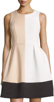 Julie Brown Kiana Colorblock Fit-and-Flare Dress, Ivory/Tan/Black