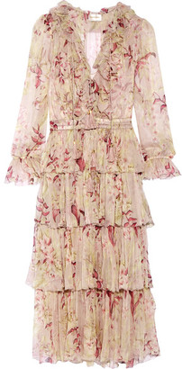 Zimmermann - Winsome Tiered Crinkled Silk-chiffon Dress - Blush $1,300 thestylecure.com