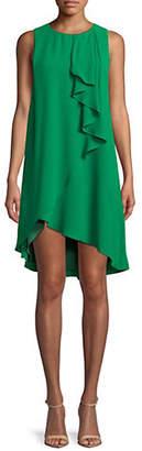 Halston H Crepe High-Low Ruffle Dress