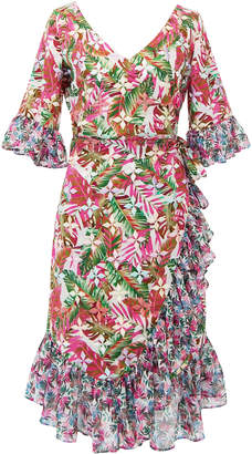 All Things Mochi Philippa Ruffled Printed Linen Wrap Dress