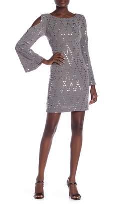 Eliza J Long Sleeve Cold Shoulder Sequin Sheath Dress