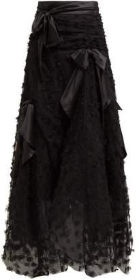 Rodarte Satin Bow Handkerchief Hem Tulle Skirt - Womens - Black
