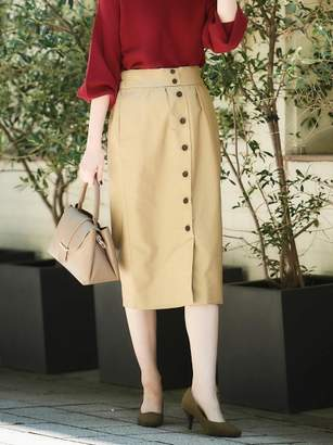Le.coeur Blanc (ル クール ブラン) - ルクールブラン コットンチノフロントボタンタイトスカート