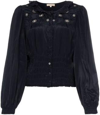 By Ti Mo By Timo ruffled embroidered top