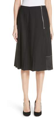 Marc Jacobs Zip Detail Pleated Stretch Wool Skirt