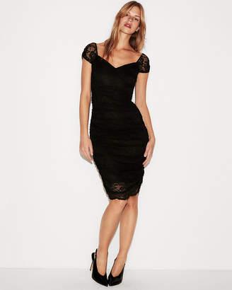 Express Ruched Lace Sheath Dress