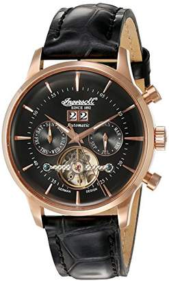 Ingersoll Unisex Automatic Watch with Black Dial Analogue Display and Black Leather Strap IN1709RBK