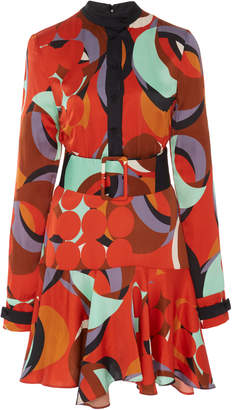 Alexis Gemini Geo-Print Ruffled-Hem Mini Dress Size: S