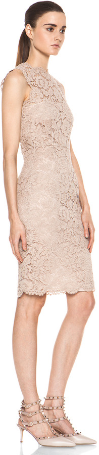 Valentino Tonal Lace Dress in Nude