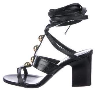 Tamara Mellon Eel-Trimmed Embellished Sandals