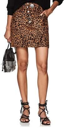 Alexander Wang Women's Leopard-Print Calf Hair & Leather Miniskirt