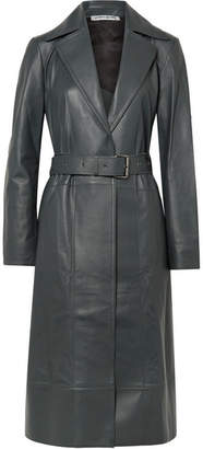 Elizabeth and James Reese Belted Leather Trench Coat - Dark gray