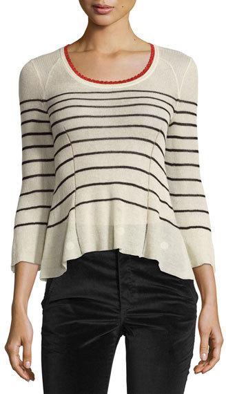 Isabel MarantIsabel Marant Amalia Striped Scoop-Neck Sweater, Neutral Pattern