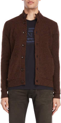 Armani Jeans Brown Slim Fit Wool Cardigan