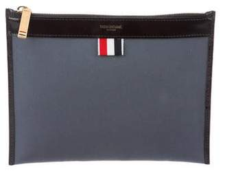 Thom Browne Canvas Leather-Trimmed Zip Pouch
