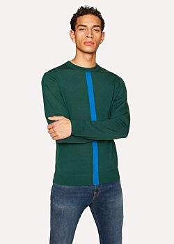 Paul Smith Men's Green Wool Sweater With Blue Stripe