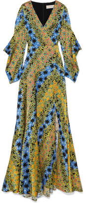 Peter Pilotto Printed Silk-jacquard Maxi Dress - Yellow