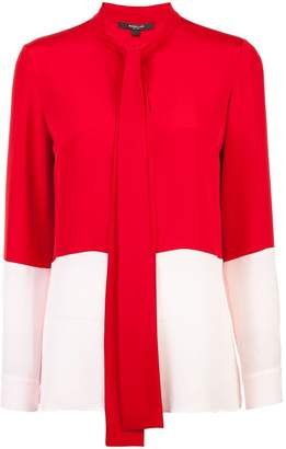 Derek Lam Long Sleeve Bicolor Blouse with Neck Ties