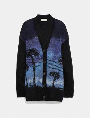 Coach Palm Tree Intarsia Cardigan