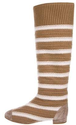 Chanel Striped Knit Knee-High Boots